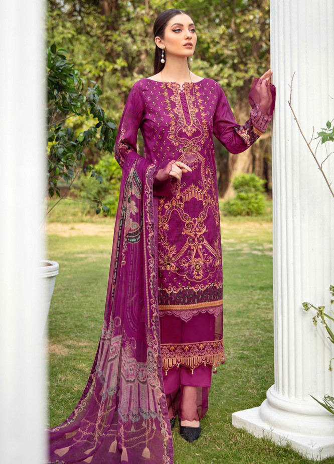 Riwayat by Ramsha Embroidered Lawn Suits Unstitched 3 Piece RSH21R-2 Y-207 - Luxury Collection