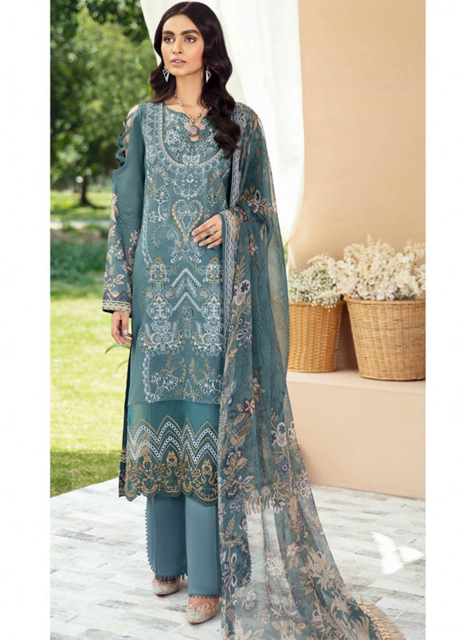 Riwayat by Ramsha Embroidered Lawn Suits Unstitched 3 Piece RSH21R-2 Y-212 - Luxury Collection