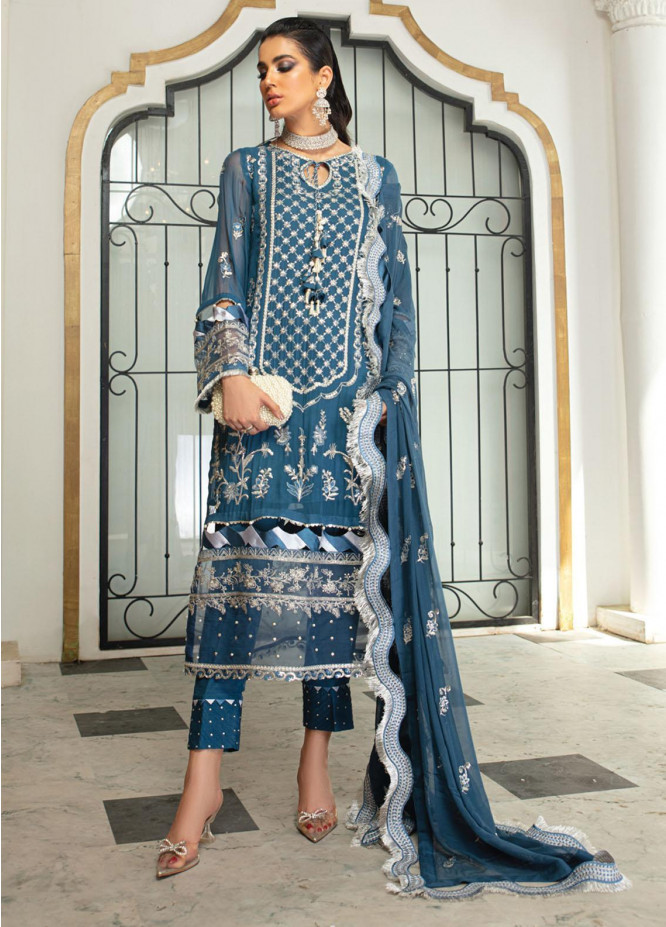 Roheenaz Embroidered Chiffon Suits Unstitched 3 Piece RO21C 08 - Luxury Collection