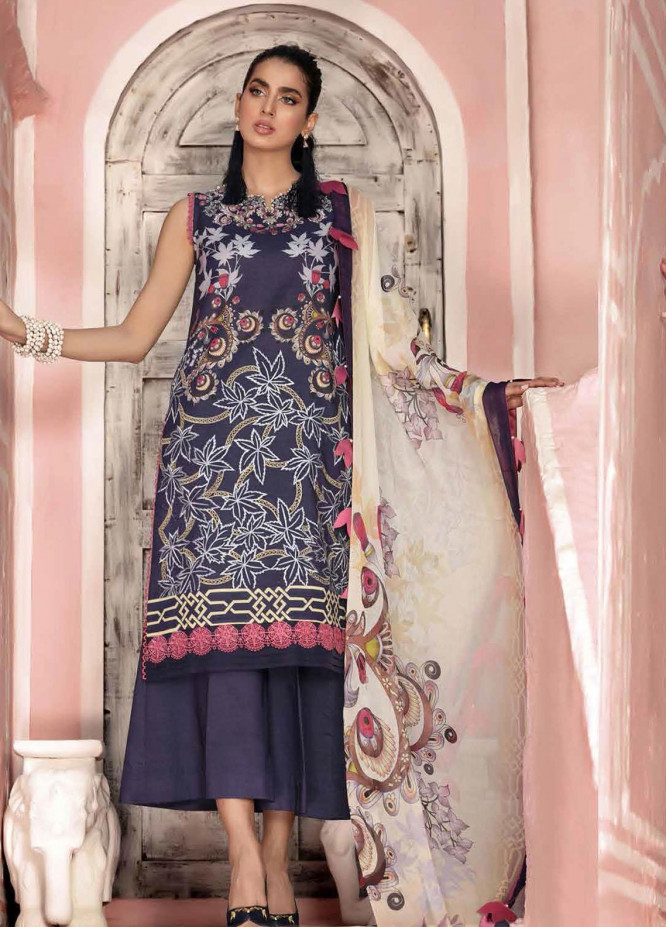 Roheenaz Embroidered Lawn Suits Unstitched 3 Piece RO21S 1B - Summer Collection