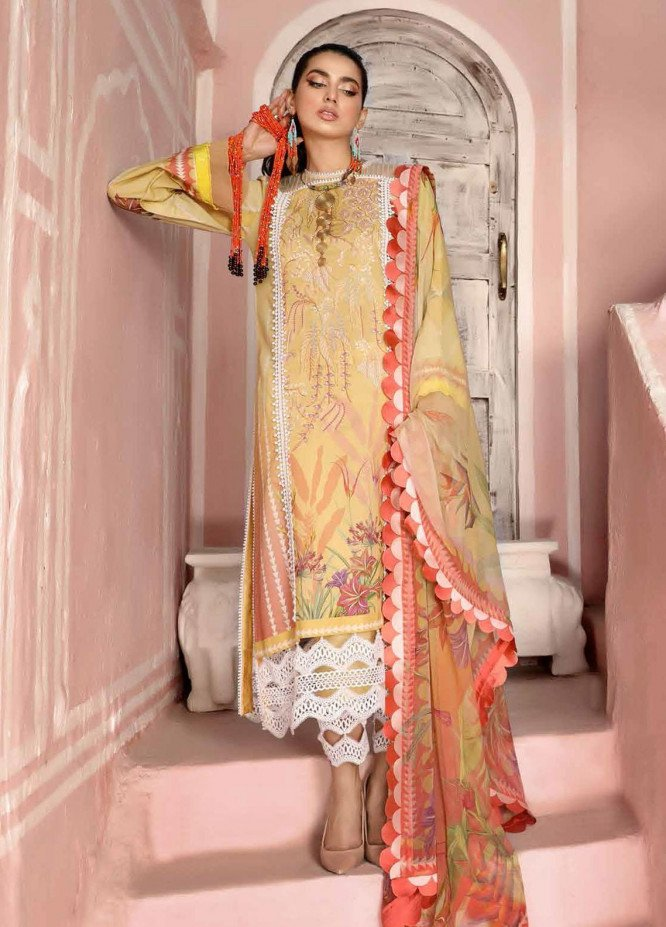 Roheenaz Embroidered Lawn Suits Unstitched 3 Piece RO21S 5A - Summer Collection