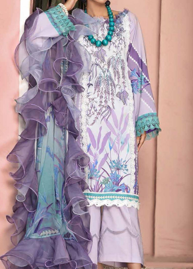 Roheenaz Embroidered Lawn Suits Unstitched 3 Piece RO21S 5B - Summer Collection