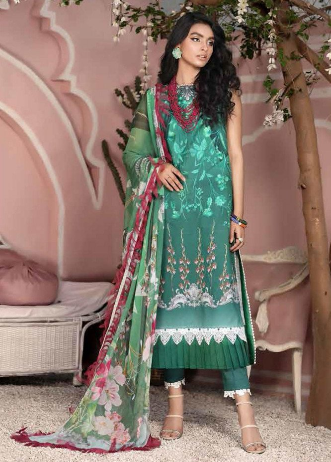 Roheenaz Embroidered Lawn Suits Unstitched 3 Piece RO21S 7A - Summer Collection