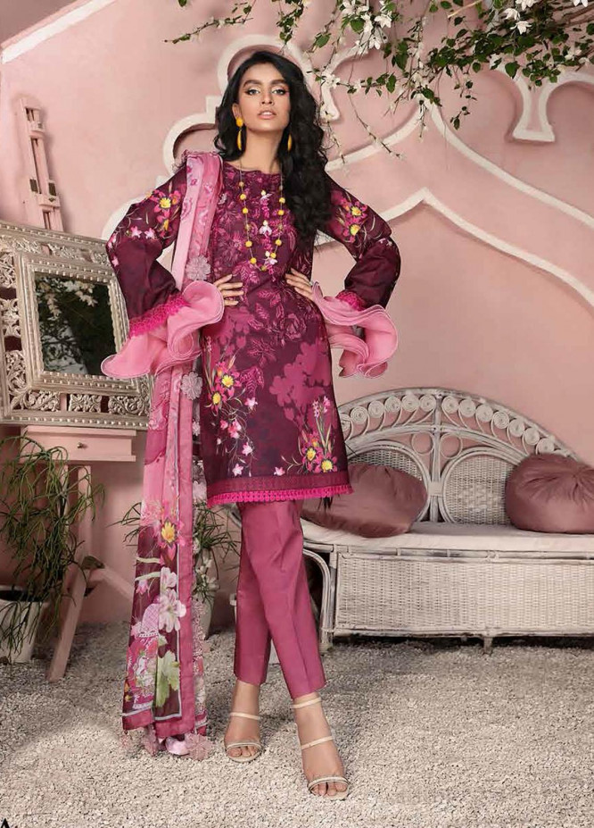 Roheenaz Embroidered Lawn Suits Unstitched 3 Piece RO21S 8A - Summer Collection