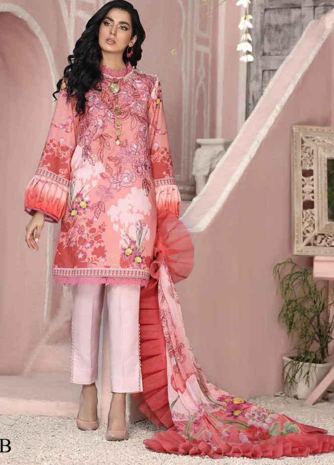 Roheenaz Embroidered Lawn Suits Unstitched 3 Piece RO21S 8B - Summer Collection
