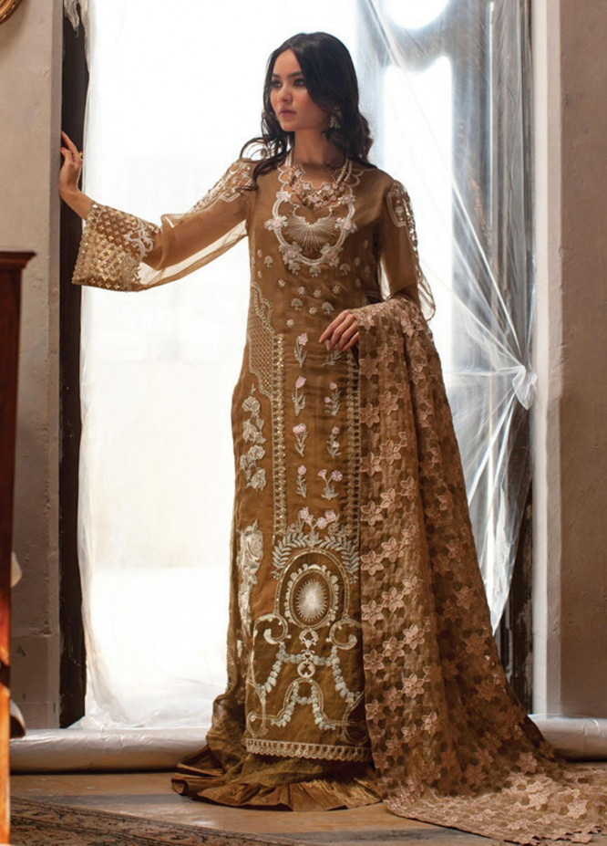 Rouche Embroidered Organza Suits Unstitched 3 Piece RCH21L 03-Brown - Luxury Collection