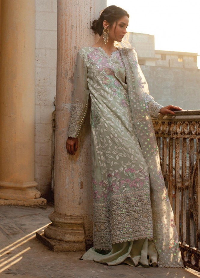Rouche Embroidered Organza Suits Unstitched 3 Piece RCH21L 05-Mint Green - Luxury Collection