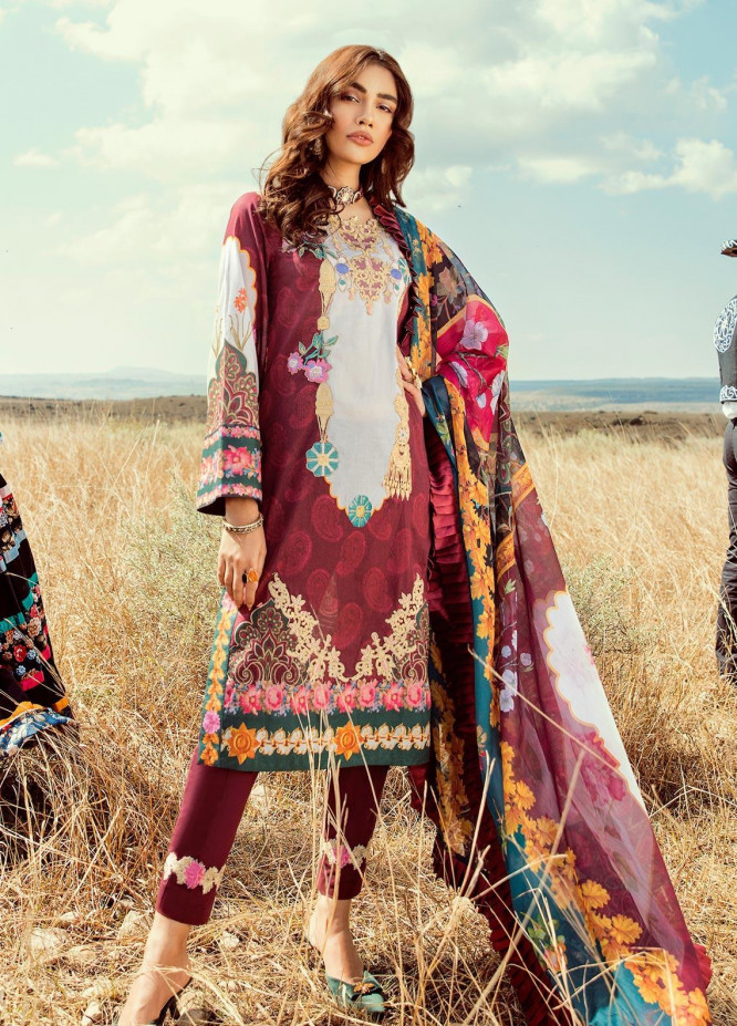 Rouche Embroidered Lawn Unstitched 3 Piece Suit RCH20S Chic Breeze 01 - Luxury Collection