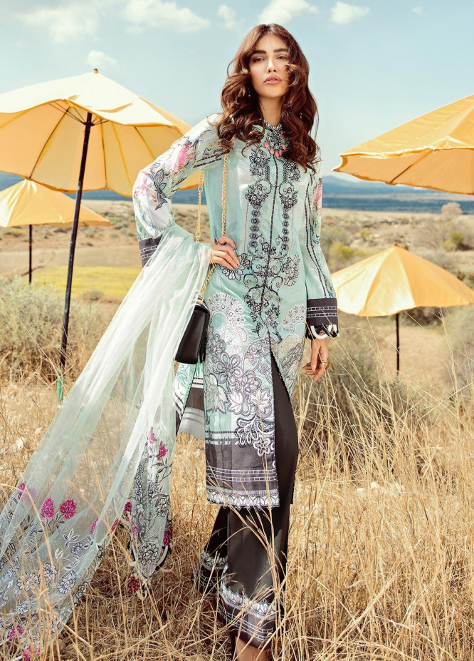 Rouche Embroidered Lawn Unstitched 3 Piece Suit RCH20S Mystic Iris 05 - Luxury Collection