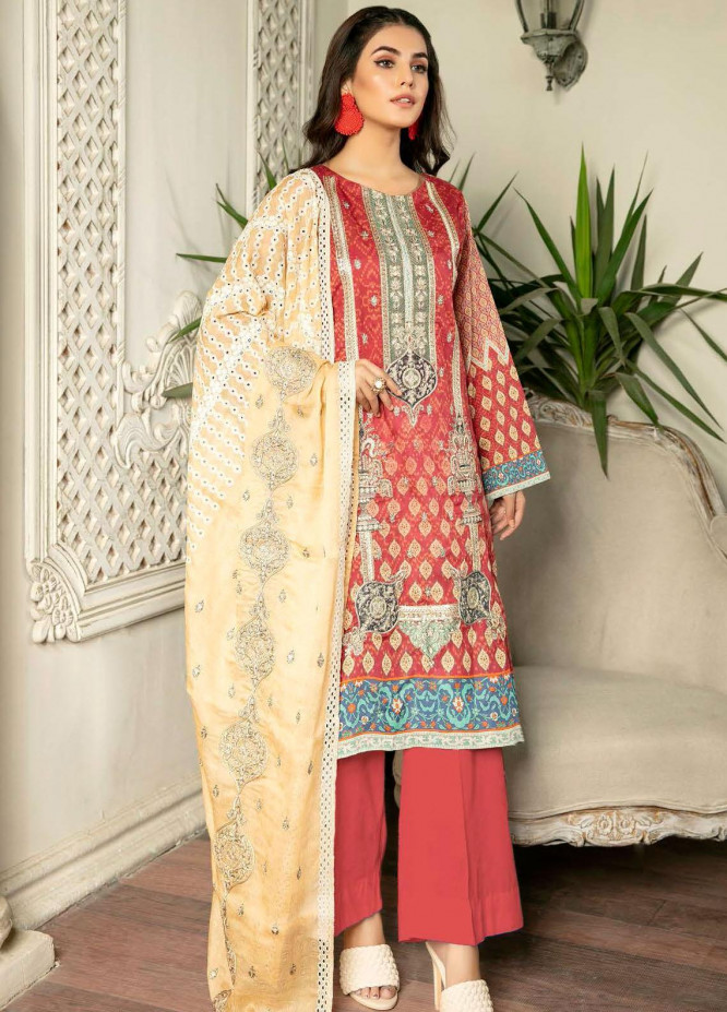 Rubab by Zebaish Embroidered Lawn Suits Unstitched 3 Piece ZSH21RB D-06 - Summer Collection