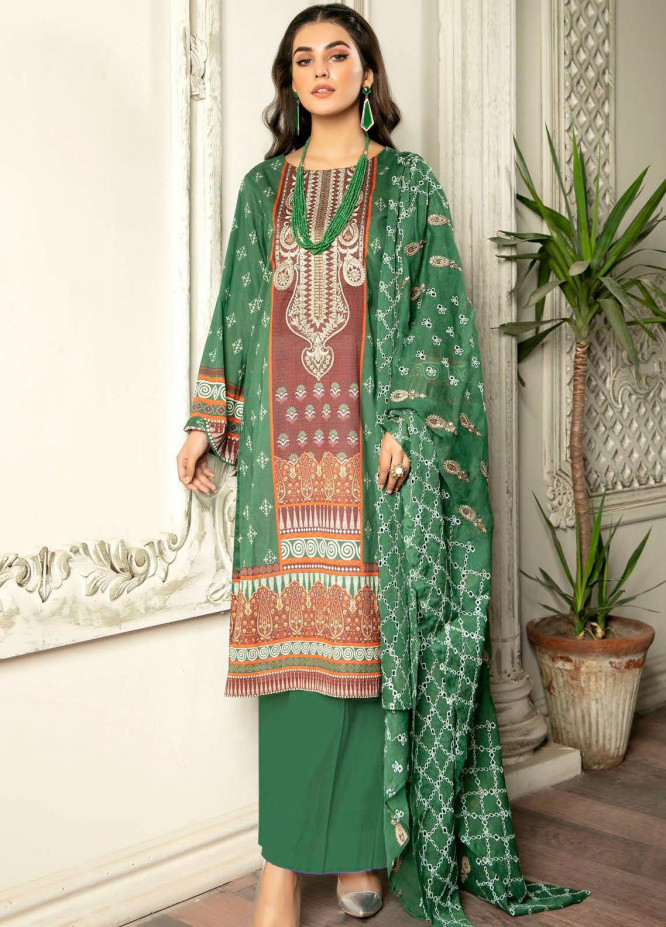 Rubab by Zebaish Embroidered Lawn Suits Unstitched 3 Piece ZSH21RB D-07 - Summer Collection