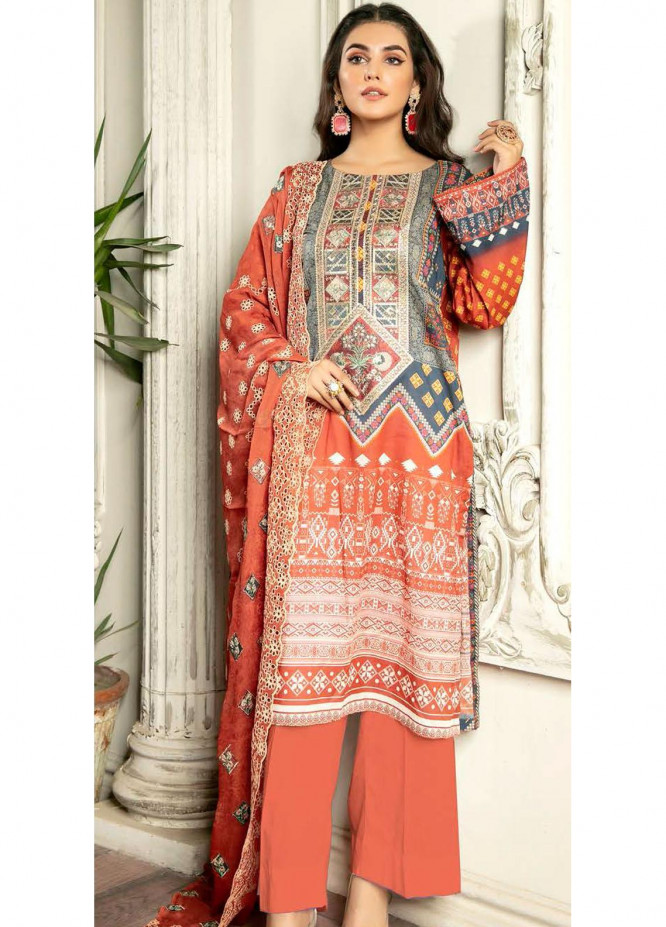 Rubab by Zebaish Embroidered Lawn Suits Unstitched 3 Piece ZSH21RB D-08 - Summer Collection