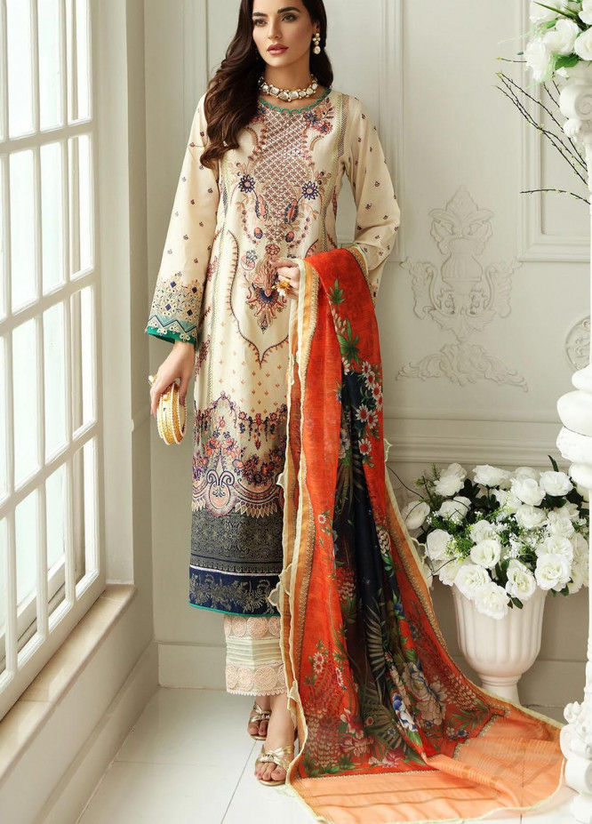 Sable Vogue Embroidered Lawn Suits Unstitched 3 Piece SV21-L2 04 Baroque Fusion - Luxury Collection