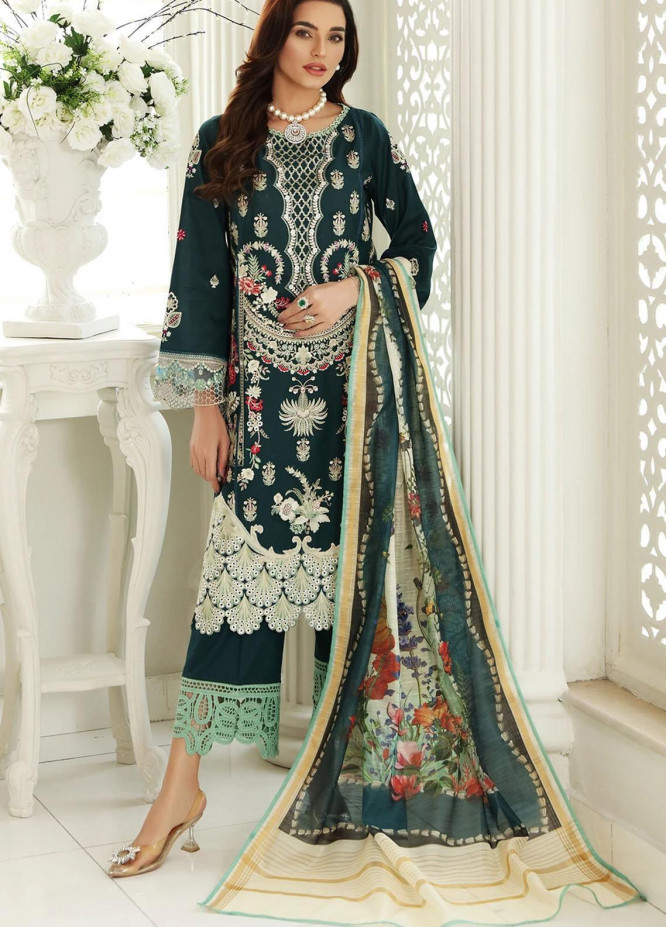 Sable Vogue Embroidered Lawn Suits Unstitched 3 Piece SV21-L2 05 Emerald Song - Luxury Collection