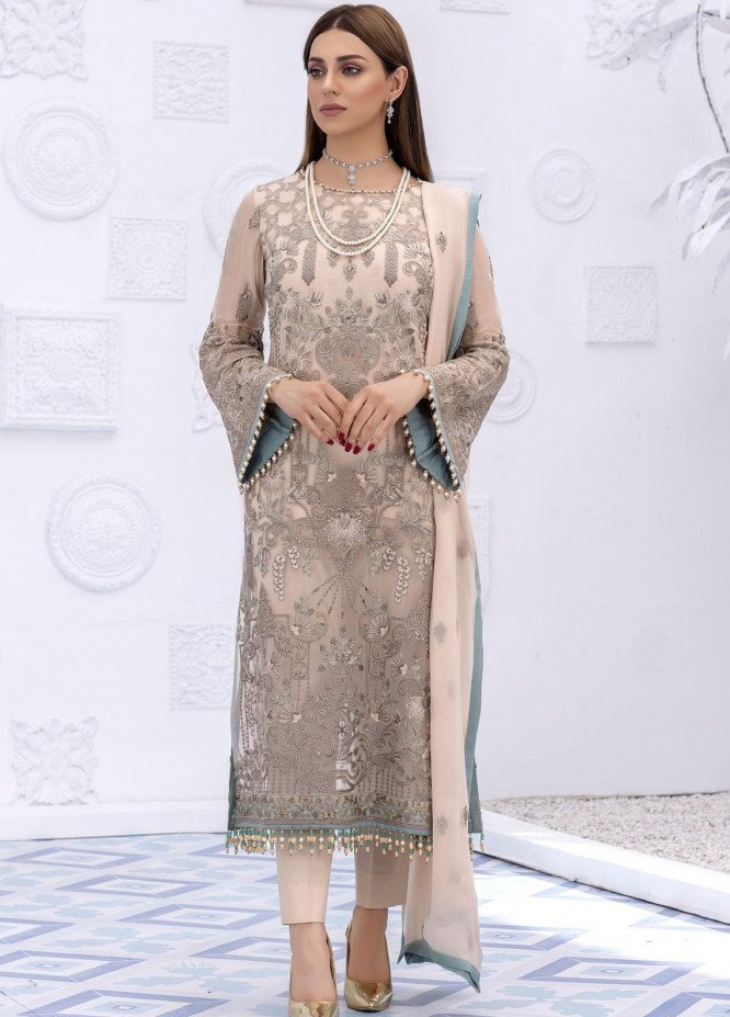 Safeera by Flossie Embroidered Chiffon Suits Unstitched 3 Piece FL21SF S-803 HONEY PEACH - Luxury Collection