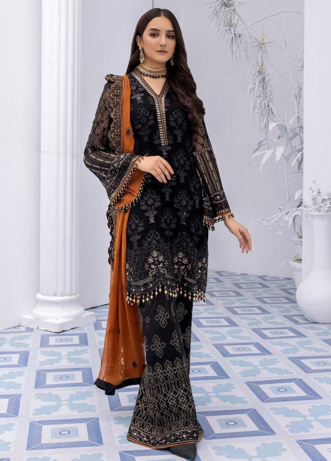 Safeera by Flossie Embroidered Chiffon Suits Unstitched 3 Piece FL21SF S-804 RAVEN - Luxury Collection