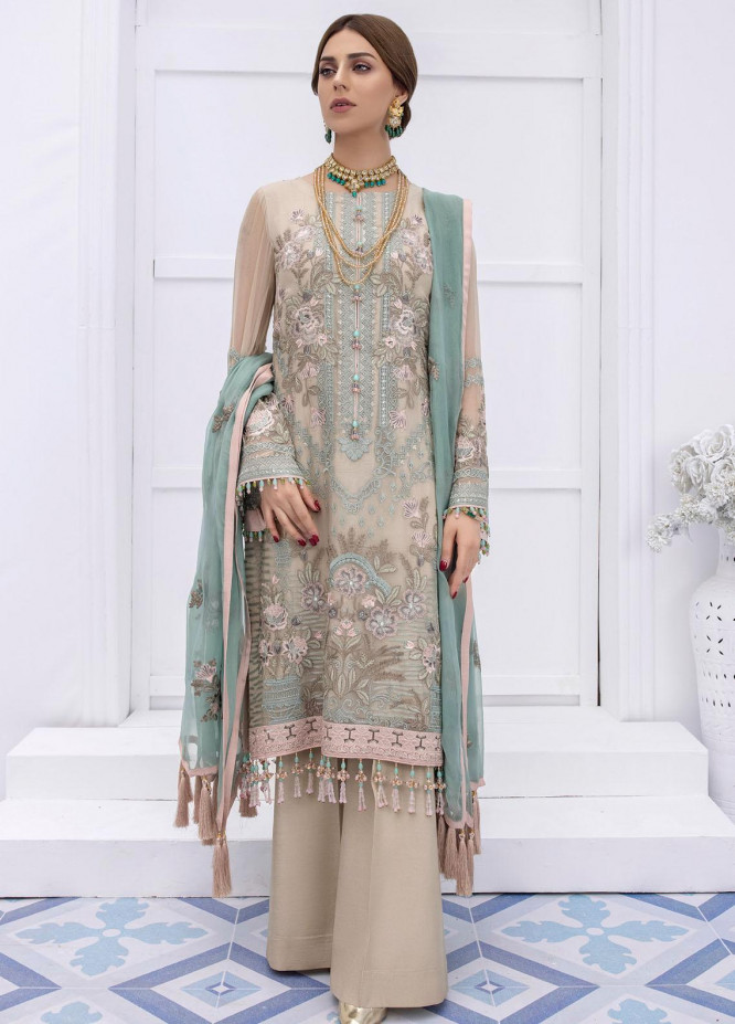 Safeera by Flossie Embroidered Chiffon Suits Unstitched 3 Piece FL21SF S-809 SUMMER MELON - Luxury Collection