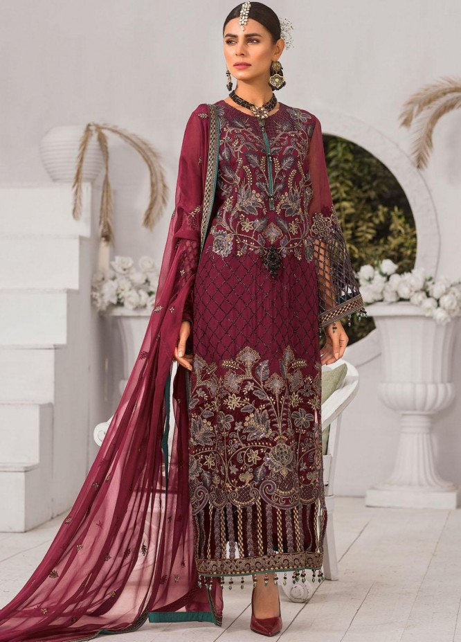 Safeera by Flossie Embroidered Chiffon Unstitched 3 Piece Suit FL20-SF6 04 Morganite - Luxury Collection