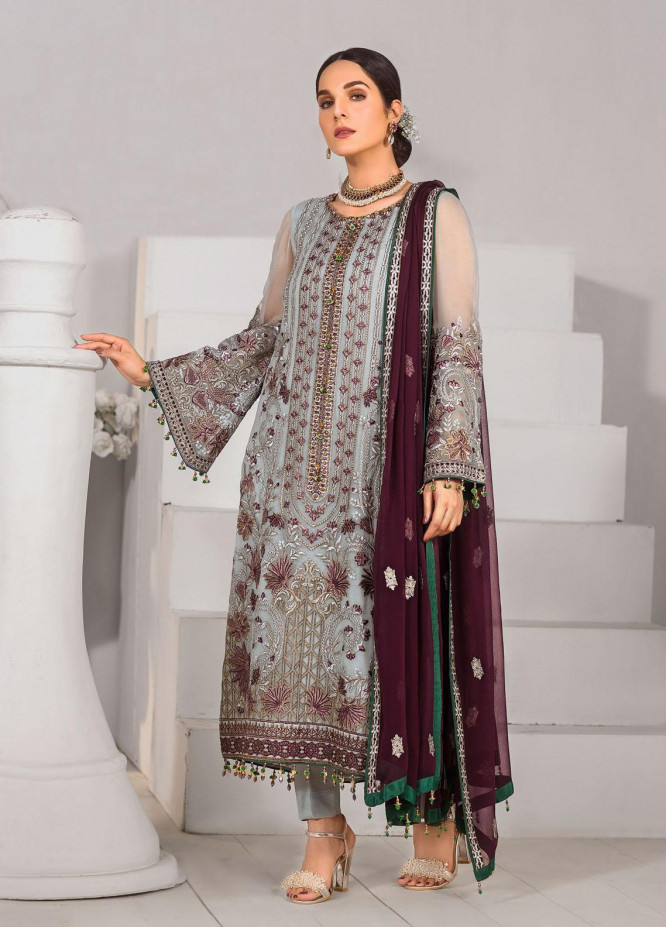 Safeera by Flossie Embroidered Chiffon Unstitched 3 Piece Suit FL20-SF6 05 Caramine - Luxury Collection