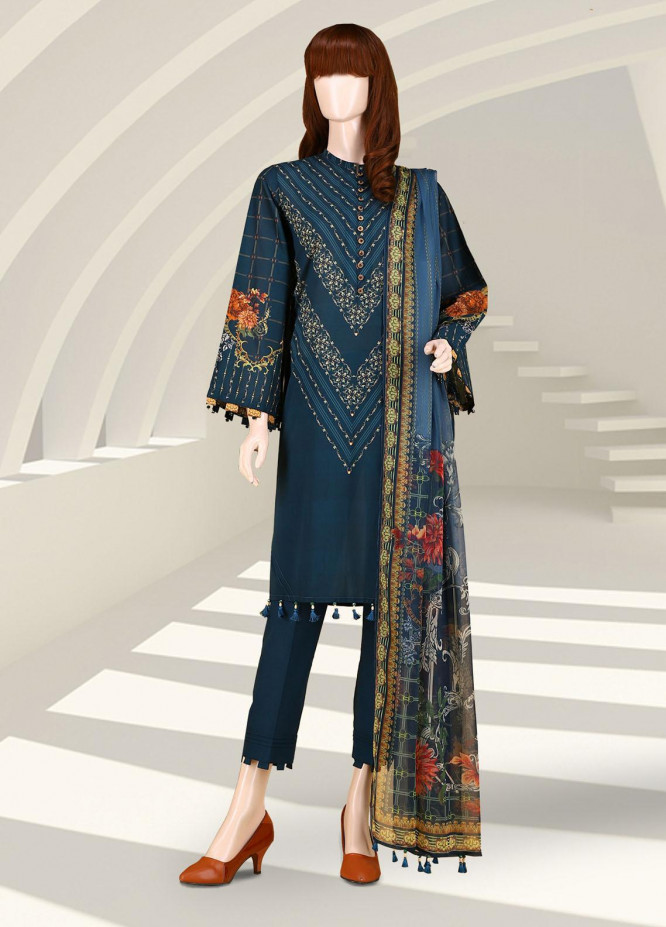 Saffron By Saya Printed Lawn Suits Unstitched 2 Piece UG-2102-13B - Summer Collection
