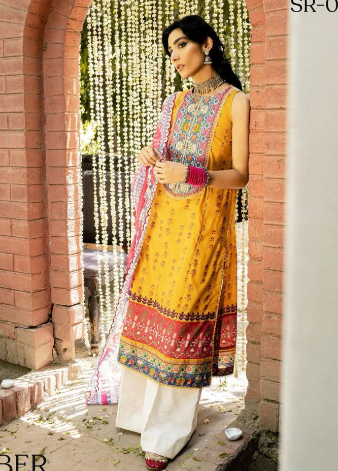 Saira Rizwan Embroidered Lawn Suits Unstitched 3 Piece SR21-E3 03 - Luxury Collection