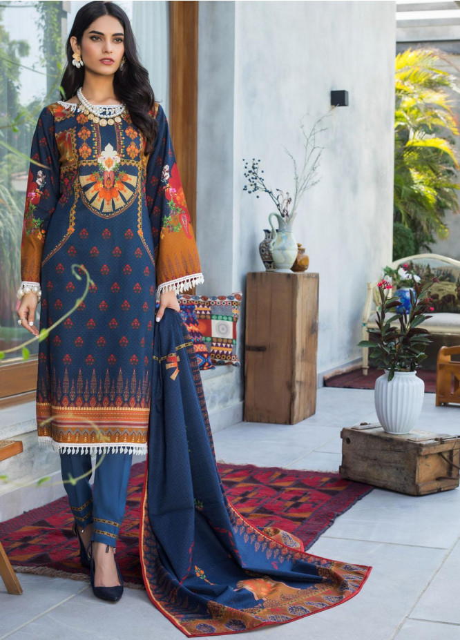 Salina by Regalia Textiles Printed Khaddar Unstitched 3 Piece Suit RGT20-KD3 02 - Winter Collection
