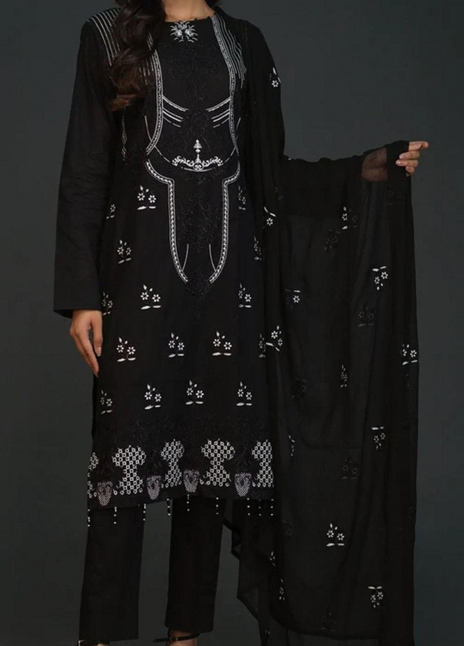 Salitex Embroidered Lawn Unstitched 3 Piece Suit ST20BW 16 - Black & White Collection