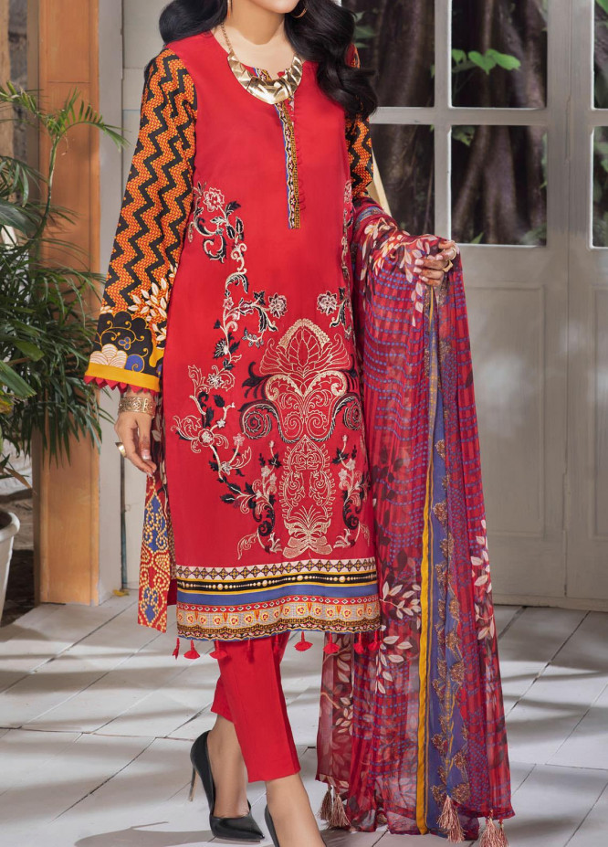 Salitex Embroidered Lawn Suits Unstitched 3 Piece ST21SK WK-00537-B - Summer Collection