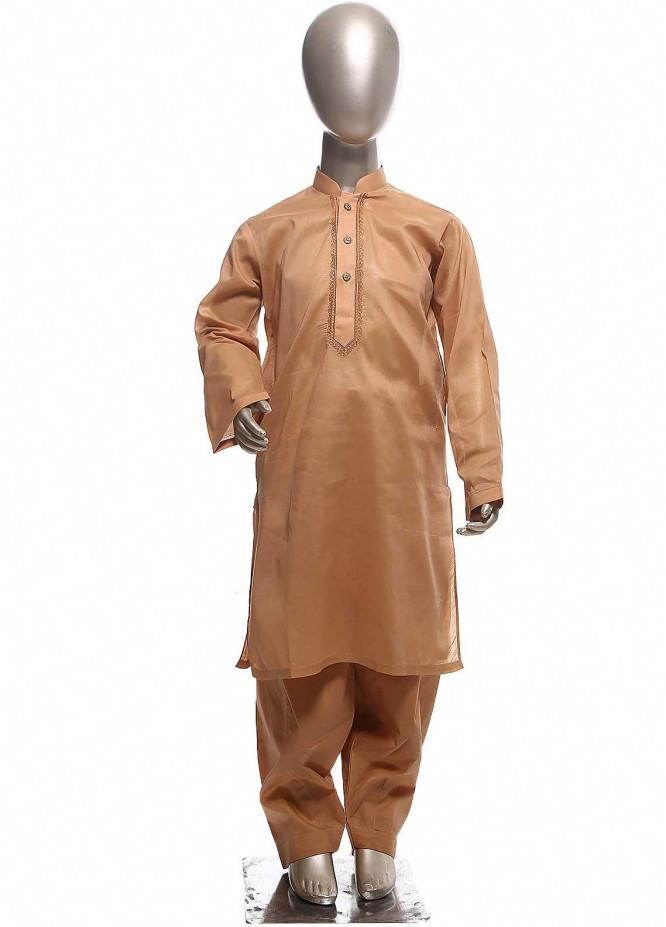Sanaulla Exclusive Range Cotton Formal Boys Kurta Shalwar -  C-732 Orange