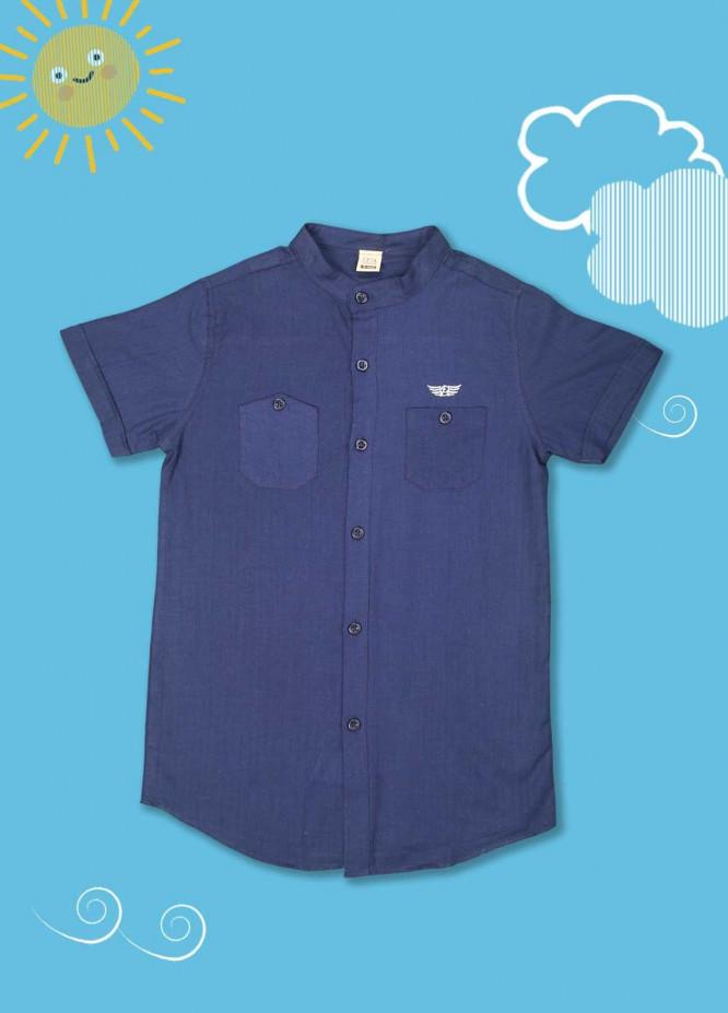 Sanaulla Exclusive Range Cotton Casual Boys Shirts -  1012 Navy Blue