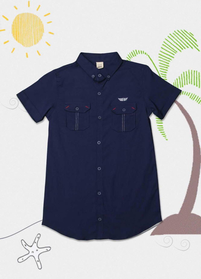 Sanaulla Exclusive Range Cotton Fancy Shirts for Boys -  1013 Navy Blue