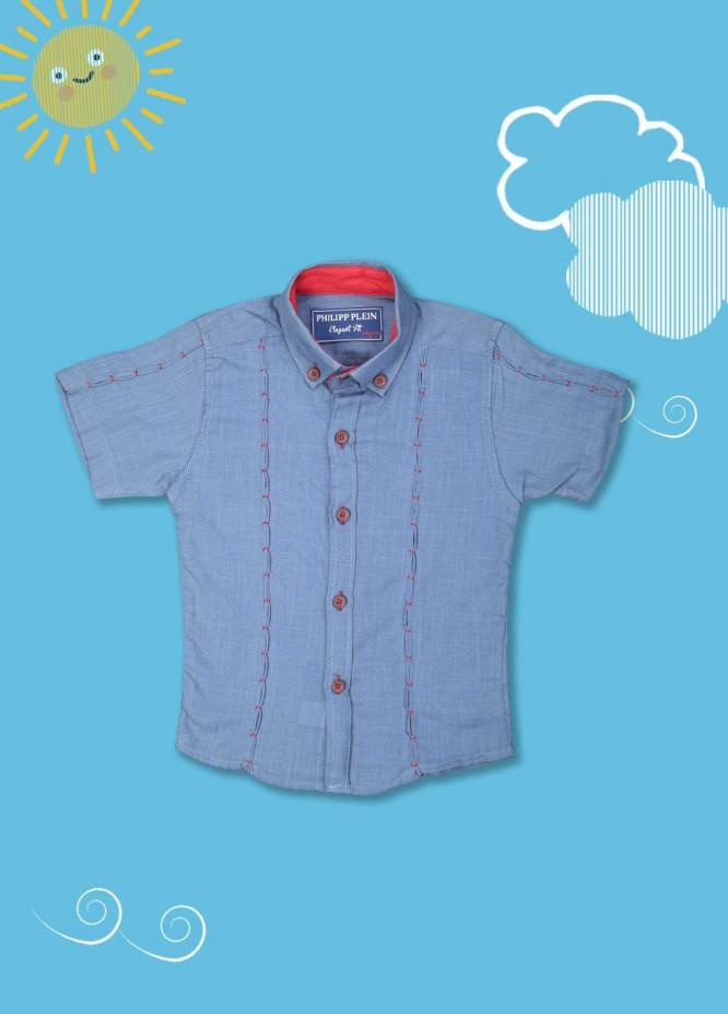 Sanaulla Exclusive Range Cotton Casual Shirts for Boys -  2005 Blue