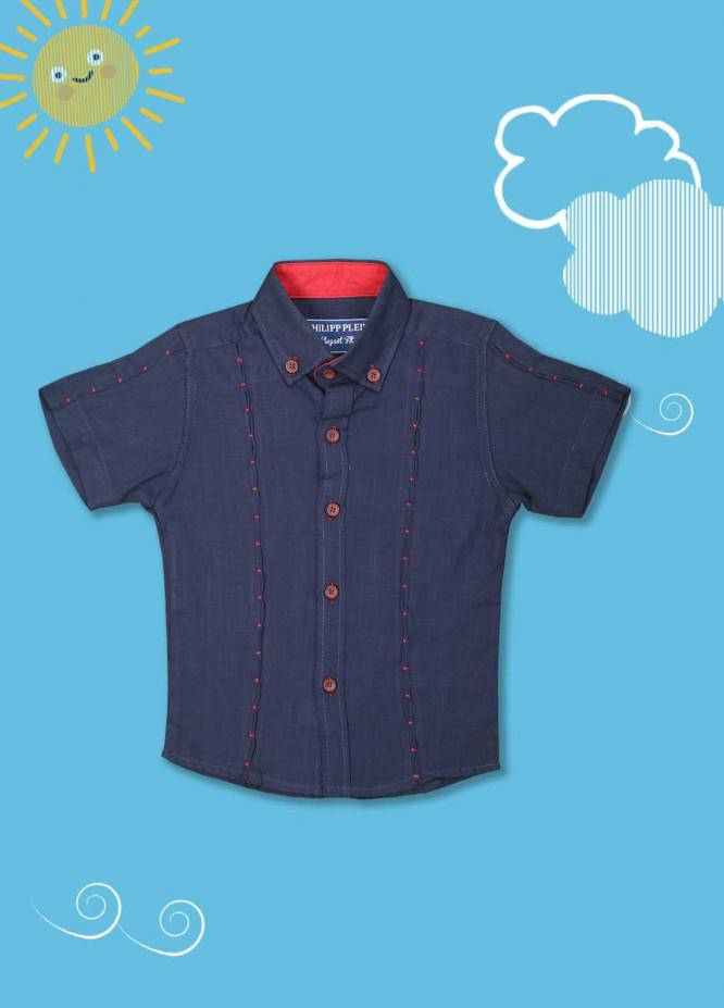 Sanaulla Exclusive Range Cotton Casual Shirts for Boys -  2005 Navy Blue