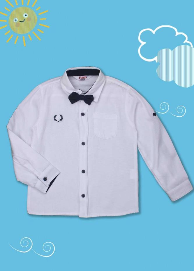 Sanaulla Exclusive Range Cotton Casual Boys Shirts -  D-00012 White