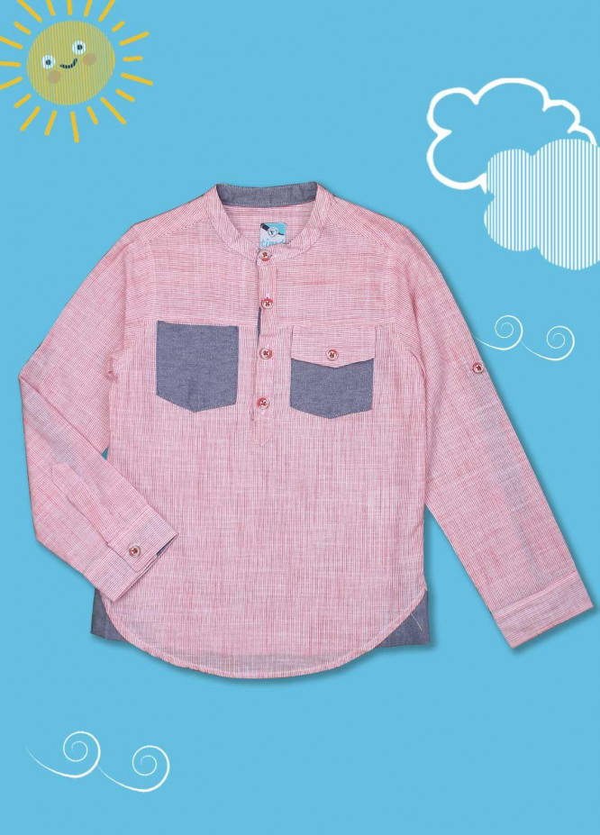 Sanaulla Exclusive Range Cotton Casual Shirts for Boys -  D-1012 Pink