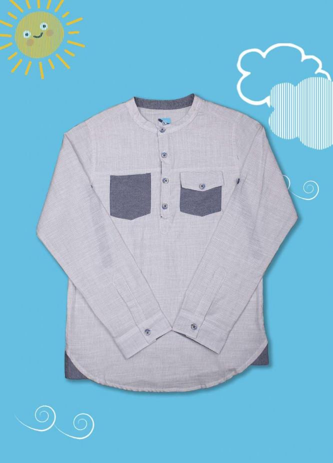 Sanaulla Exclusive Range Cotton Casual Boys Shirts -  D-1014 Fawn