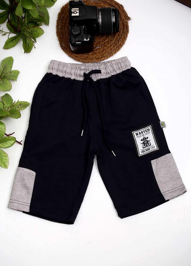 Sanaulla Exclusive Range Cotton Fancy Shorts for Boys -  D-3030 Dark Blue