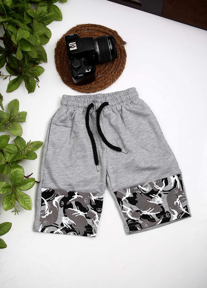 Sanaulla Exclusive Range Cotton Fancy Boys Shorts -  D-3240 Light Grey