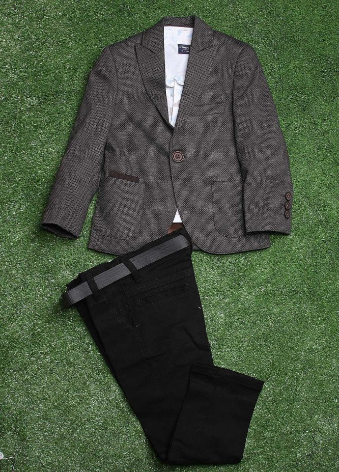 Sanaulla Exclusive Range  Casual 3 Piece Suit for Boys -  003 Grey