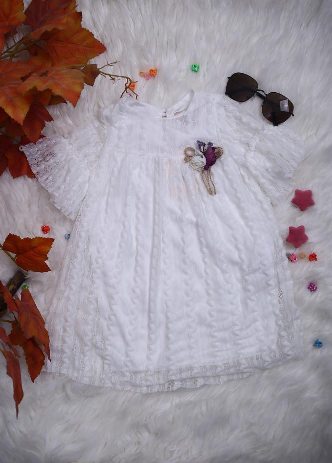 Sanaulla Exclusive Range Net Casual Frocks for Girls -  112508 White