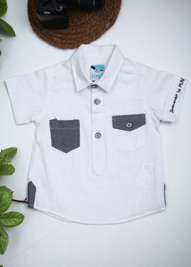 Sanaulla Exclusive Range Cotton Fancy Boys Shirts -  00801 White