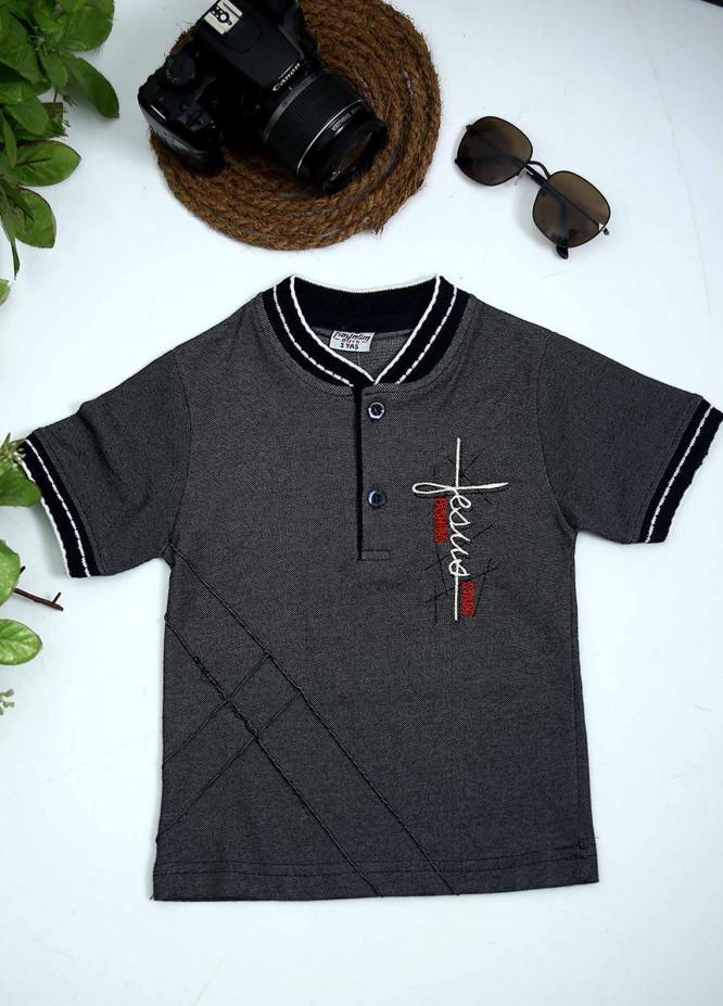 Sanaulla Exclusive Range Cotton Fancy T-Shirts for Boys -  1005028 Grey