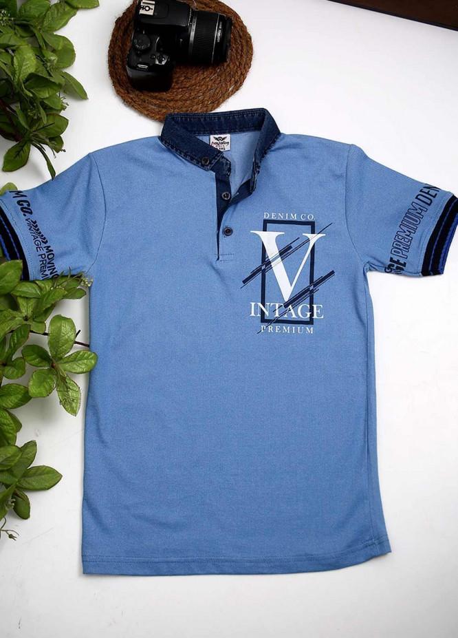 Sanaulla Exclusive Range Cotton Fancy T-Shirts for Boys -  1005221 L-Blue