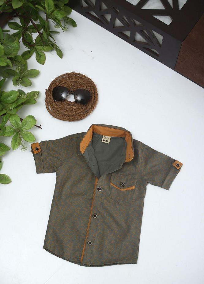 Sanaulla Exclusive Range Cotton Fancy Shirts for Boys -  1010 Green