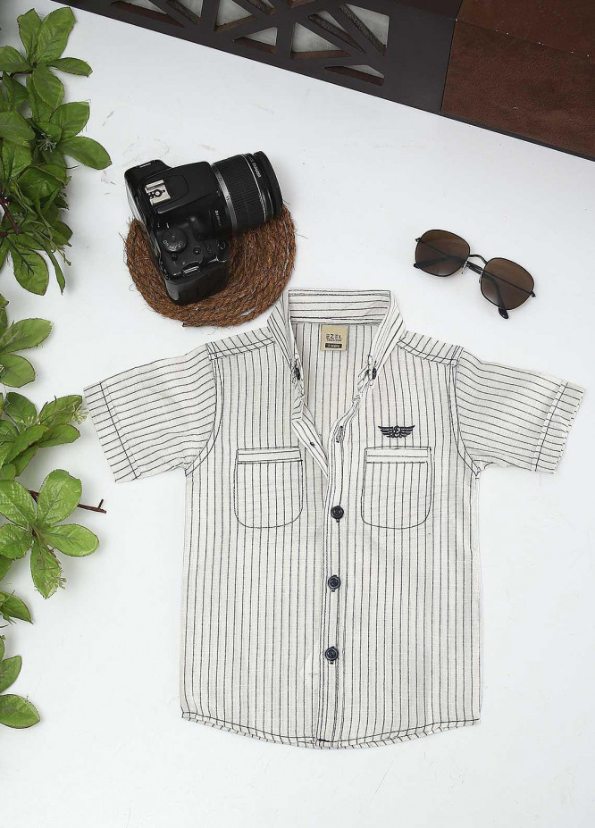 Sanaulla Exclusive Range Cotton Fancy Shirts for Boys -  1011 Off White