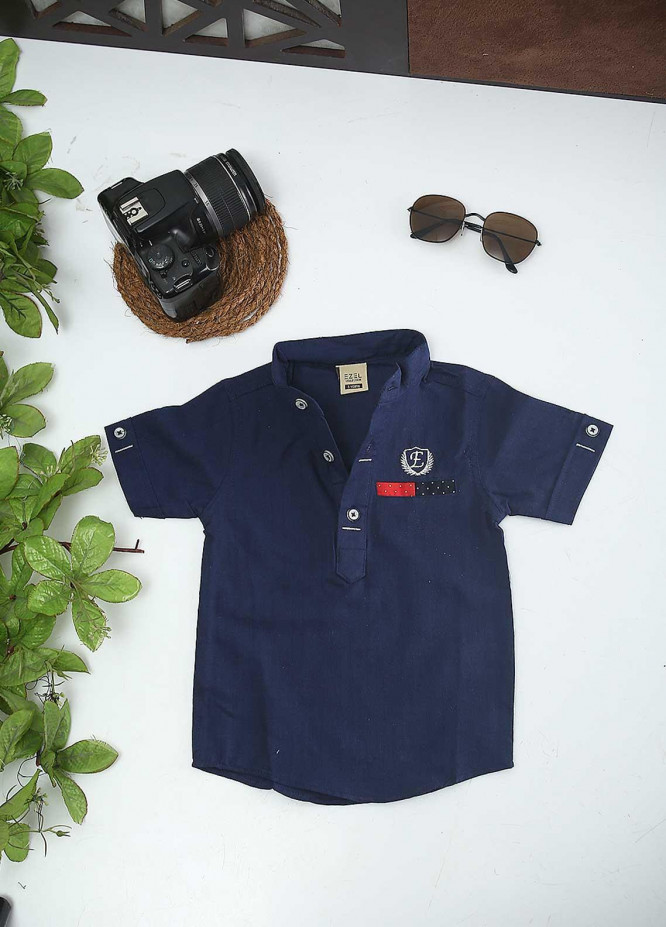 Sanaulla Exclusive Range Cotton Fancy Boys Shirts -  1016 Navy Blue