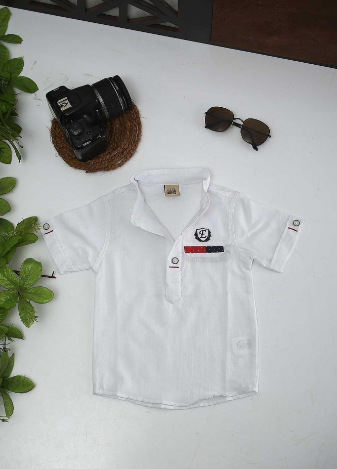 Sanaulla Exclusive Range Cotton Fancy Boys Shirts -  1016 White