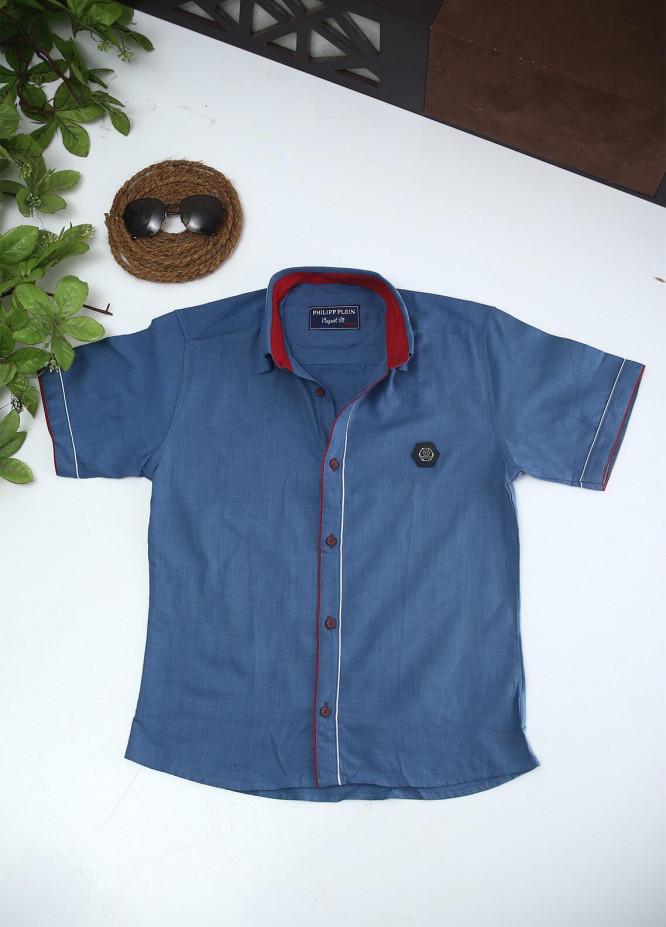Sanaulla Exclusive Range Cotton Fancy Boys Shirts -  2002 Blue