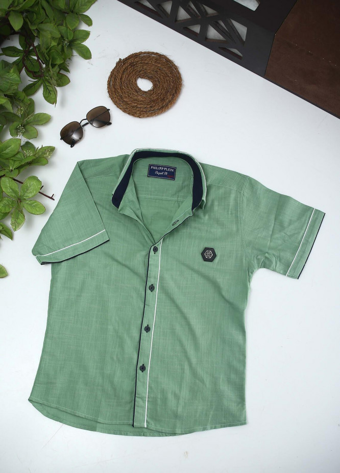 Sanaulla Exclusive Range Cotton Fancy Boys Shirts -  2002 Green