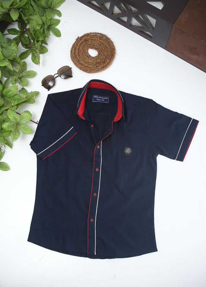 Sanaulla Exclusive Range Cotton Fancy Shirts for Boys -  2002 Navy Blue